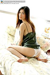 Kneeling On Bed Panties Exposed Long Hair
