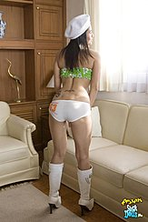 Kimfon Leaning Forward Long Hair Over Her Shoulders Wearing White Panties In White Boots