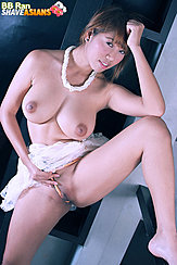 Bb Ran Standing With Leg Raised Big Breasts Bared Pulling Panties Taut Over Her Shaved Pussy