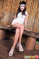 Sitting Cross Legged On Bench Wearing White High Heels