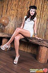 Hannah Lee Seated Cross Legged On Bench Long Hair High Heels