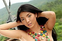 Long Haired Thai Teen Riko Chong Strips Nude From Denim Shorts
