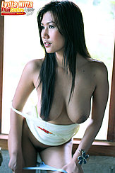 Leaning Forward Long Hair Over Her Big Breasts Panties Pulled Down