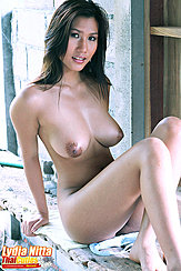 Seated Naked On Bench Big Breasts Knees Raised
