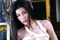 Beauty Mei Mei strips top and shorts and plays with vibrator