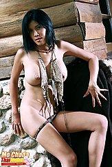 Mo Chada Against Cabin Wall Big Breasts Bikini Bottoms Pulled Down