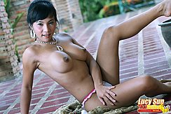 Seated Topless Big Breasts Long Nipples Leg Raised