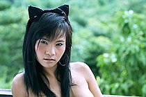 Breasty Stunner Lucy Sun Stripping Cat Outfit And Posing Nude