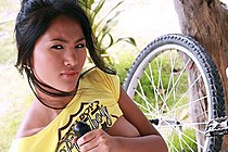 Pla Pattama Strips Working On Her Bike And Spreads Her Legs