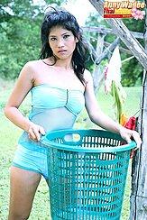 Holding Wash Basket In Green Panties