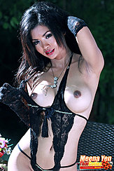 Meena Yen Pulling Top Aside Exposing Her Breasts