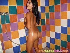 Kai Showering Nude Long Hair Down Her Back