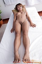 Lying naked shaved pussy bare feet painted toenails